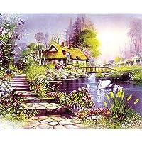 ZDDYX絵画DIY手描きの湖sideの小屋の風景DIYデジタル絵画デジタル現代の壁アートキャンバス絵画ユニークなギフト家の装飾絵画番号40X50Cmでフレーム