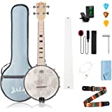 Mulucky 4 String Banjo Ukulele Concert 23 Inch Remo Drumhead Maple Body Beginner Kit With Truss Rod Gig Bag Tuner String Stra