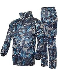 ZEMIN レインコート ポンチョ レインウェア スリッカー ウインドブレーカー 防水 カバー ユニセックス セット ズボン 通気性のある ポリエステル、 カモ、 4サイズあり (色 : カモ, サイズ さいず : L l)