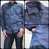 (ヴァンプス)VUMPS メンズ デザインシャツ フラワージャガード ストレッチシャツ  長袖 ネイビー