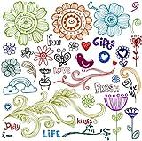 幸せの花いたずら書きスケッチ ~ クリアスタンプ (18x18cm) // Happy Flowers Doodles Sketch ~ Clear stamps pack (9x18cm) FLONZ