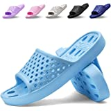 Xomiboe Shower Shoes with Drainage Holes Quick Drying Non Slip Soft Mens and Womens Bathroom Slippers Blue Size: 7.5-8 Women/