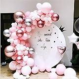 LDFWAYAU Pink White Metal Silver Rose Gold Balloons Arch Garland Kit 109Pcs Balloons for Birthday Baby Shower Wedding Centerp
