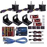 Fosa CNCシールド+ UNO R3ボード+メカニカルスイッチエンドストップ+ DRV8825ヒートシンク付き ステッパモータドライバ+ Nema 17ステッパモータ+ M3ネジ+アルミクーラ