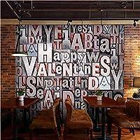 Lixiaoer 英語の手紙壁紙3D立体ヨーロッパスタイルバーカフェショップの背景壁壁画壁紙-280X200Cm