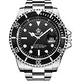 腕時計メンズ 防水性 回転ベゼル 国内クォーツ 黒 ステンレス ベルト 箱付き ギフトウォッチ