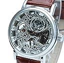 E-seven(イーセブン) 腕時計 メンズ スケルトン 手巻き 自動巻き 機械式 革 レザー tfsle (シルバーケース)
