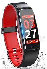 スマートウォッチ 【2018最新】 iphone 対応 IP67防水 カラースクリーン スマートブレスレット 血圧 心拍計 歩数計 活動量計 アラーム LINE 電話着信通知 睡眠検測 遠隔カメラ レディース メンズ Android 対応 (レッド)