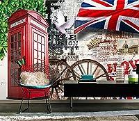 Mbwlkj ヨーロッパのレトロな背景写真の壁紙紙カフェバー家の装飾壁画3D自己接着壁紙-200cmx140cm