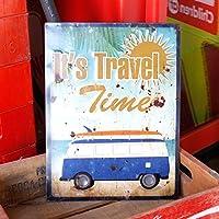 なまけ者雑貨屋 ヴィンテージルックのメタルサインアンティークエンボスプレート「It's Travel Time」(RECTサイン) ブリキ製看板ティンサインアメリカン雑貨