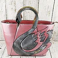 スワンレディースパテントレザーハンドバッグ大容量ショッピングバッグファッショントートショルダーバッグ,Pink