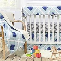 Brandream Boho Plaid Crib Bedding Set for Boysブルーベビーベビーベッド寝具セット、100 %ソフトコットン、低刺激性と通気性、3個