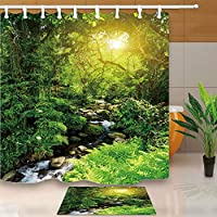 FidgetGear Sunshine Through Rainforest Shower Curtain Bathroom Set Polyester Fabric 71inch Shower Curtain +Mat(square)