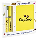 BIC 972090 My Message Kit Fabulous - Stationery Set with 1 BIC 4 Colours Ballpoint Pen, 1 BIC Highlighter Grip Pen - Yellow,