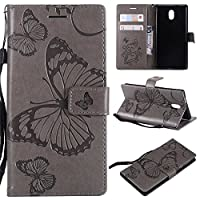 Phoebe for Nokia 3 Genuine Leather Wallet Case Cover, Flip Stand, Card Slot, Stylish, Grey