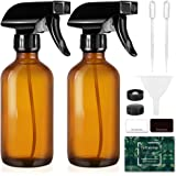 Tecohouse Glass Spray Bottle 250ml for Cleaning Product and Esssential Oil, Amber Empty Refillable Sprayer Container with Lab