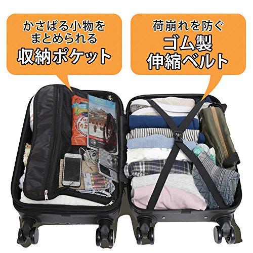 スーツケース キャリーバッグ M 軽量 8輪キャスター TSAロック ブラック