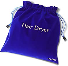 超大型ドライヤー袋35*35cm、抽出紐構造の豪華ビロード袋、旅行や家庭用に適合し、ドライヤー、ストレートアイロン、ヘアカーラー、髭剃りなどが入れられます(ブルー) …