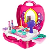 (Makeup Kit) - Kids Pretend Play Make Up Case And Cosmetic Set, Durable Beauty Kit Hair Salon with 21 Pcs Makeup Accessories