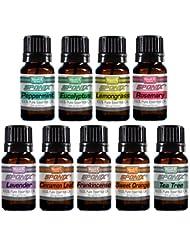 アロマセラピーSPONIX エッセンシャルオイル セット - ユーカリ油、ラベンダー油、フランクセンス油、ティーツリー油、ローズマリー油、ペパーミント油、オレンジ油、シンナモンリーフ油、レモングラス油 - 10 mL -...