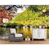 Mingld 中国公園秋の川滝森林自然写真の壁紙、リビングルームのソファテレビ背景寝室の家の装飾-250X175Cm