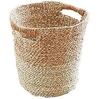バスケット 収納ボックス カゴ プランターカバー ごみ箱 筒型 ナチュラル