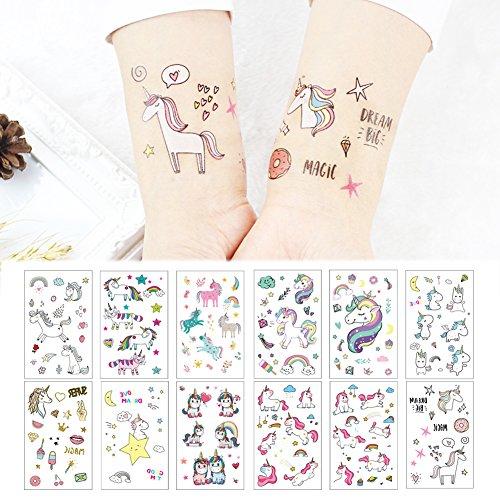 タトゥーシール かわいい ユニコーン花柄 Fanoshon 大人と子供が用 ボディーアートシール・刺青シール・ステッカー 顔用 腕 長持ち TATTOO 簡単に貼る