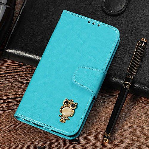 CUSKING Galaxy S4 手帳型 ケース、ギャラクシ S4 スマホケースPUレザー フリップ ノート型 ストラップ付き カード収納付き 保護ケース - ブルー