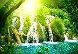 パラダイスの滝 風景の写真 キャンバス印刷アートポスター(60cmx90cm)