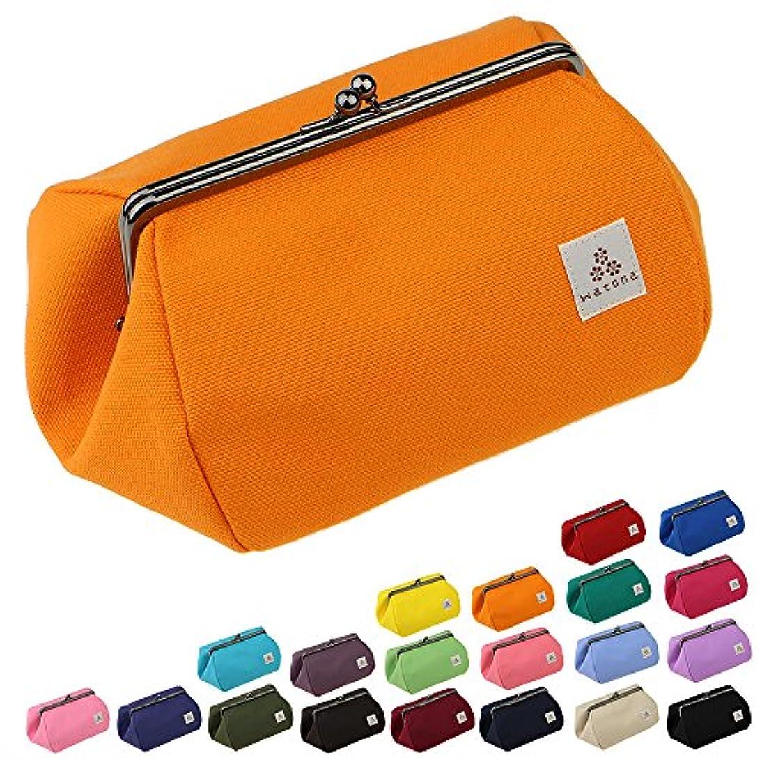 今まで領事館酔ったwatona 帆布がま口 5寸 化粧ポーチ(ワイド)50w (オレンジ)