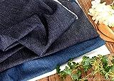 児島デニム 6オンス インディゴ染め くったりソフトデニム生地 (50cm単位でカットしてお届けします) (インディゴ)