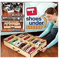 ベッド下Shoe Organizer for Kids (12ペア) – Underbed大人の靴通気性の材料のクローゼットストレージソリューション – Made withフロントファスナー付き開閉 – Easy to Assemble