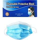 Disposable Face Masks 50 Pcs Blue Protective 3-Ply Anti Dust Breathable Elastic Ear Loop Comfortable Sanitary Breathable for