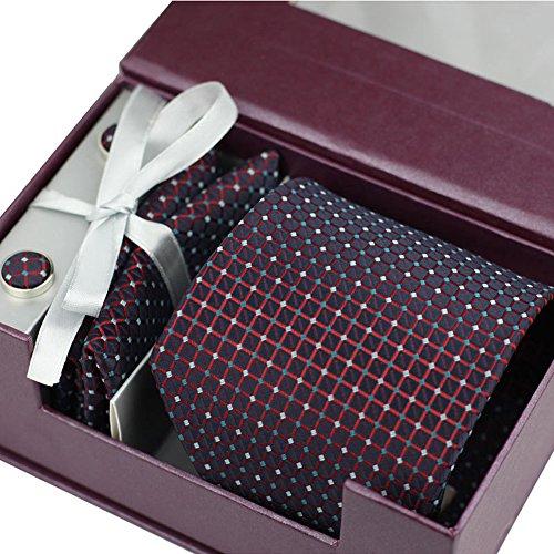 HappinessPlus(TM)ネクタイ ネクタイピン ポケットチーフ カフス 4点 セット ビジネス/結婚式/二次会/パーティー 収納ボックス付き 【HPS-41211】