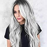 SIYAN Ombre Silver Gray Gradient Wigs for Women, Silver Gray with Black Roots Loose Wavy Curly Wig Cos Gray Gradient Anime Wi