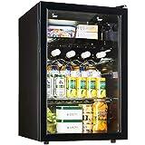YLLN Mini Fridge Black, Portable 80L Beer Wine Drink Refrigerator LED Light Little Refrigerator Suitable for Car Dorm Bar Off