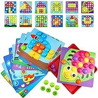 Dreampark形合わせおもちゃ ブロック12個セット 子供おもちゃ 知育パズル クリエイティブボタン 色彩認識 創造力 想像力 プレゼント 贈り物 ボタン45ピーズ 絵12枚