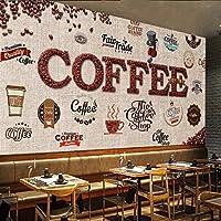 Wuyyii 写真壁紙シェーディングボードレトロコーヒーカフェラベル背景壁壁画高品質Wallpaper280X200Cm