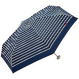 w.p.c 折りたたみ傘 ハート刺繍 ボーダー 手開き ネイビー 50cm 302-126