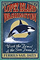 Lopez島、wa–Orca Whale Vintage Sign 12 x 18 Art Print LANT-49071-12x18