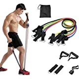 PGY Resistance Bands Set with Handles 11 Packs, Door Anchor, Ankle Straps and Workout Guide - Lxuemlu Exercise Bands for Men