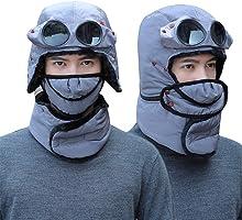 Geafos 防寒帽子 フェイスマスク めがね、マスク付き パイロットキャップ マスク 耳あて付 メンズ レディース 冬 スノーボード スキー 防寒具 自転車 バイク 釣り 登山 外出仕事 男女兼用 子供/大人