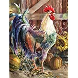 Apomelo 12×16 inches Diamond Painting by Numbers Rooster Full Drill Diamond Painting for Adults Diamond Art Kit,Farmhouse Roo