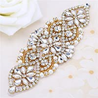 XINFANGXIU Wedding Rhinestone Applique - Bridal Crystal Applique Pearls Beaded Dacorations Handcrafted Sparkle Elegant Sewn or Hot Fix for Women Gown Sash Evening Prom Party Dress Belt Clothes - Gold