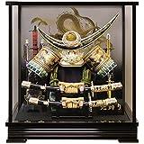 五月人形 兜ケース飾り 上杉謙信公兜 グリーン 間口40.5×奥行27.5×高さ42cm 黒塗ガラスケース 30-552