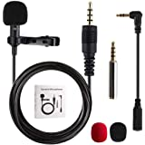 Lavalier Microphone, Gyvazla 3.5mm Lapel Clip-on Omnidirectional Condenser Microphone for iPhone & Android Smartphones or Any