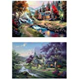 5D DIY Diamond Painting 2 Pack kinkade's Painting Scenery 16X20 inches Full Round Drill Rhinestone Embroidery for Wall Decora