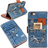 本格デニム iPhone6s ケース / iPhone6 ケース 手帳型 (アイフォン6s / アイフォン6 兼用 4.7インチ用) マグネット式、スタンド機能、カード収納、人気アイホンケース