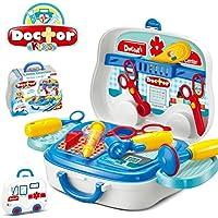 UiiQ おままごと お医者さんセット ごっこ遊び ミニドクター おもちゃ お医者さんごっこ なりきり医用セット 男の子 女の子 玩具 収納トランクセット