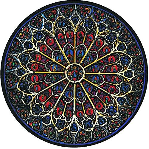 Winged Heart ステンドグラス シール ノートルダム大聖堂 バラ窓 静電気接着 約14cm